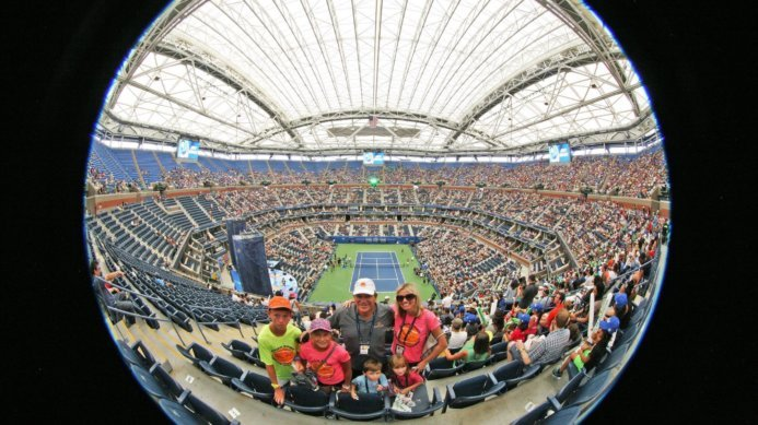 Special Picture of Johan & Daga Kriek with their Kids and Academy Players at The US Open by Art Seitz
