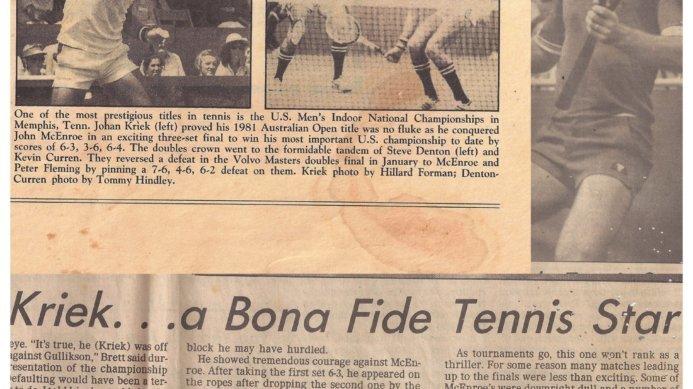February 1982: Johan Kriek Beats John McEnroe to Win the US Men's Indoor Championship